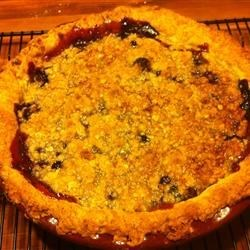 Concord Grape Pie II Recipe -  This very flavorful grape pie has the added delight of a yummy brown sugar, butter and rolled oat crumble topping that adds wonderful taste and crunch to each bite.