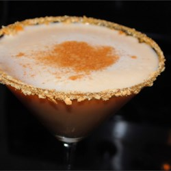Pumpkin Pie Martini Recipe - The name says it all - this is a pumpkin pie martini with a graham cracker 'crust.'