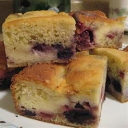 Blueberry Ricotta Squares Recipe - A blueberry coffeecake with a ricotta cheese topping. Reminiscent of cheesecake, this recipe was in my maternal grandmother's collection. Origin is unknown.