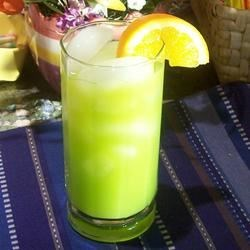 Buzzy J Recipe - A sweet and refreshing cocktail made with orange juice and melon liqueur. Fruit garnish is optional.