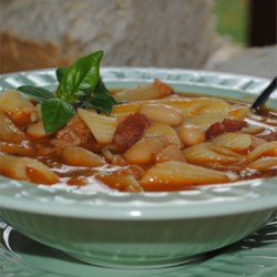 Pasta Fagioli II Recipe - Italian white kidney beans and penne pasta in a delicious tomato, bacon and chicken flavored soup.