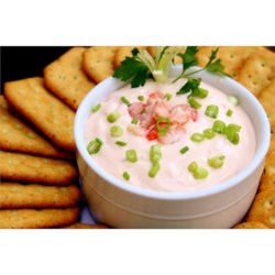 Shrimp Dip I Recipe - A creamy, hot shrimp dip with shrimp and green onion. Serve with crackers.