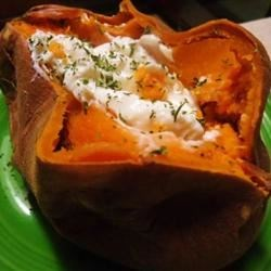 Twice Baked Sweet Potatoes with Ricotta Cheese Recipe - A tasty, savory version of twice baked sweet potatoes.