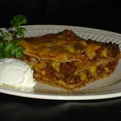 Enchilada Casserole III Recipe - This is a layered casserole with ground beef, corn tortillas, enchilada sauce and refried beans baked with a mixture of Cheddar and Monterey Jack cheeses. Serve with sour cream or any desired toppings.