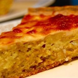 Artichoke Pie Recipe - Artichoke hearts are always a treat!  In this simple recipe, they are combined with garlic, bread crumbs and parmesan cheese and baked in a pie crust,  topped with  mozzarella.