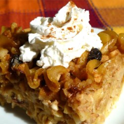 Microwave Apple Kugel Recipe - Chopped apples, walnuts, raisins, and cinnamon flavor this delicious noodle pudding that's baked in the microwave.