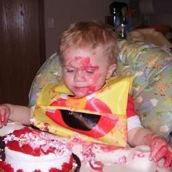 J-man enjoying his Cake