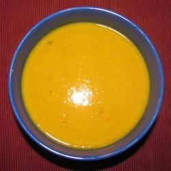 Pumpkin, Sweet Potato, Leek and Coconut Milk Soup Recipe - This is a beautiful and flavorful soup that is made with pumpkin and sweet potato, and seasoned with onion and leek. Velvety coconut milk adds a nice finishing touch.