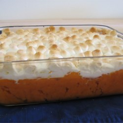 Sweet Potato Casserole II Recipe and Video - Mmm! Sweet potatoes topped with creamy toasted marshmallows.