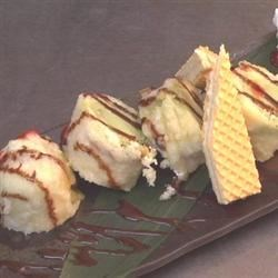 Tempura Fried Ice Cream Recipe - Ice cream is sandwiched between slices of pound cake, dipped in tempura batter, and fried until golden. This easy way to make fried ice cream is great for dessert.