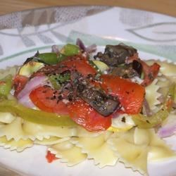 Ratatouille over bw tie pasta.
