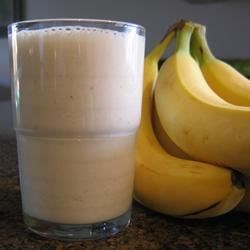 Banana Blast II Recipe - Bananas, milk, a hint of brown sugar, cold water, and crushed ice make a refreshing not-too-thick smoothie.