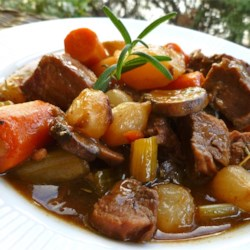 Beef Stew VI Recipe - Beef, carrots, potatoes, and celery are seasoned with rosemary and parsley in this simple stovetop beef stew recipe.