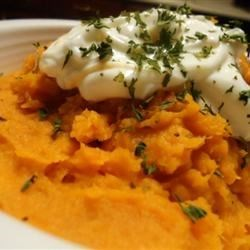Mashed Sweet Potatoes Recipe - Simple mashed sweet potatoes flavored with maple syrup and butter.