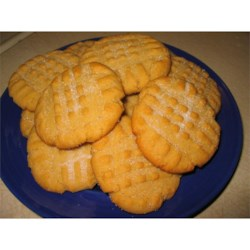 Peanut Butter Cookies VII Recipe - Traditional peanut butter cookies made with shortening -- very moist.