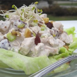 Sleepy Hollow Chicken Salad Supreme Recipe - This delightful chicken salad is blended with pineapple tidbits, raisins, and curry powder. If you prefer, you can use turkey instead.