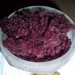 Blueberry Granita Recipe - Pureed blueberries sweetened with sugar mix with water and lemon juice to make this fruity and refreshing frozen treat.