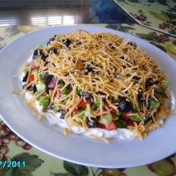 Layered Dip Recipe - Cocktail sauce makes this a different tasting dip.  People are amazed when they find out the 'secret ingredient'. Serve with crackers or tortilla chips.