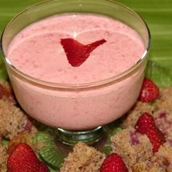 Strawberry Soup II Recipe - Strawberries are blended with whipping cream, cinnamon, nutmeg, vanilla extract and sour cream in this elegant chilled soup.  Serve garnished with pound cake croutons and fresh berries.