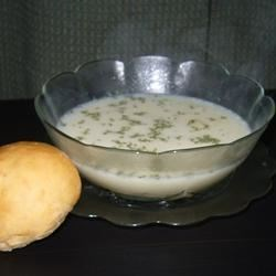 Summa Borscht Recipe - This potato, dill, and buttermilk soup is from my mother's German-Mennonite ancestry.  We eat it with hard-boiled eggs diced and added to the soup, for a meal in a bowl.  Delicious!