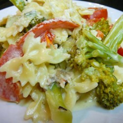 Chicken and Bow Tie Pasta Recipe and Video - Easy and delicious chicken and bow-tie pasta with a white cream sauce.