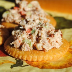 Turkey Salad Recipe - Spread this delicious turkey salad on your favorite crackers! A blend of turkey meat, celery, onions and sweet red bell pepper is mixed with flavors that create an appetizer everyone will love.