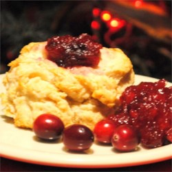 Cape Cod Biscuits Recipe - Dollops of whole cranberry sauce add a lovely touch to the center of light drop biscuits.