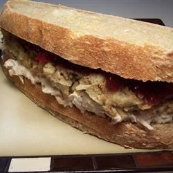 Turkey, Stuffing, And Cranberry Sandwich