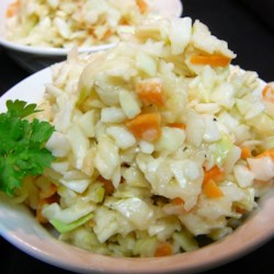 Apple Coleslaw Recipe - Your basic coleslaw gets a sweet surprise with the addition of Granny Smith apples. Great as a side dish with pork sandwiches.