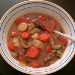 Angel's Old Fashioned Beef Stew Recipe - Beef chuck stewed with potatoes, carrots, celery, onions and beef broth for a homey favorite. The aroma that permeates throughout the house while the stew is simmering doesn't do it justice..delicious.
