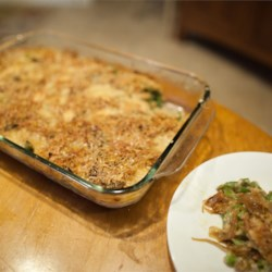 French Onion Green Bean Casserole Recipe - The iconic green bean casserole is reworked with the flavors of French onion soup -- caramelized onions and Gruyere cheese.
