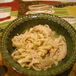 Hearty Homemade Chicken Noodle Soup Express Recipe - Ready-to-use chicken breasts and canned broth make classic chicken noodle soup in a hurry.