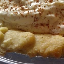 Yummy Eggnog Pie Recipe - Vanilla pudding prepared with eggnog and rum and folded with whipped cream. Yummy!