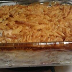Country Chicken Casserole Recipe - Chicken breast, hash browns, fried onions and cheese. Now that's country cookin' for ya! This is a wonderful easy recipe, especially if want a filling meal, but don't have time to stay in the kitchen. This is my mother-in-law's favorite dish, and it heats up well for leftovers.