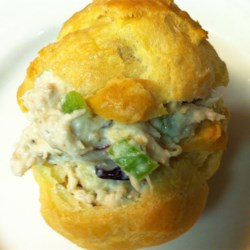 Chicken Salad Puffs II Recipe - Freshly baked pastry shells are filled with a celery and raisin chicken salad.