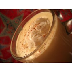 Eggnog Smoothie Recipe - Prepared eggnog and instant vanilla pudding are the base of this easy-to-make, creamy beverage with rum and whipped topping.