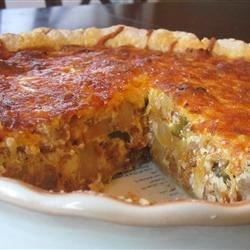 Cheesy Sausage & Potato Quiche (with meatless vegetarian version)
