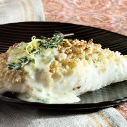 Almond-Crusted Halibut Crystal Symphony Recipe - When you're done this halibut dish melts in your mouth! The credit goes to my future mother-in-law! If you can find creme fraiche you may substitute it for the heavy cream.  Each filet should be between 3/4 and 1 inch thick.
