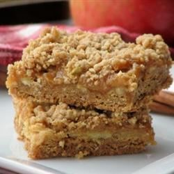 Caramel Apple Bars II Recipe - A fall favorite with baked apples and gooey caramel. A great rainy day project!