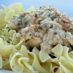 Lazygirl's Ground Turkey Stroganoff Recipe - A creamy and delicious seasoned ground turkey mixture is served over hot egg noodles.