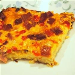 Breakfast Treat Recipe - A simple but delicious breakfast bake with bread slices, eggs, cheese and ham.