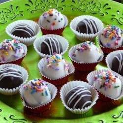 Twilight Dark Chocolate Truffles Recipe - These truffles are made with heavy cream, butter, baking chocolate, chocolate chips, and espresso powder.