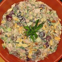 Mendocino Chicken Salad Recipe - Made with smoked chicken breast, this delicious salad stands out from the crowd. It's filled with crunchy celery, slivered almonds, fresh basil, and juicy grapes.
