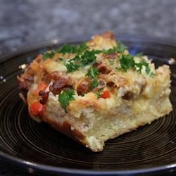 Sunday Vegetarian Strata Recipe - A savory bread pudding made with vegetarian sausage, cheese, and eggs.