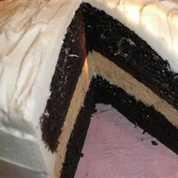 Maureen's Mocha Cake Recipe - A two layer chocolate cake spiked with coffee liqueur and covered with rich mocha frosting.