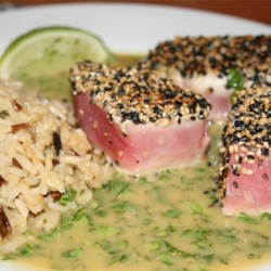 Seared ahi with wasabi butter
