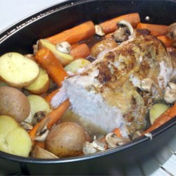 Pork Butt Roast with Vegetables Recipe - Delicious and tender pork roast with piles of vegetables and mushrooms