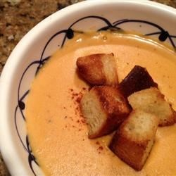 Bachelor's Creamy Pumpkin Soup Recipe - This scrumptious and hearty soup is perfect for those short on time or reluctant to tackle cumbersome fresh pumpkin and garlic prep. It makes a wonderfully satisfying and surprising meal for fall and winter dinner guests. I serve this delectable soup with crusty bread and grilled vegetables; it would also complement a roast.