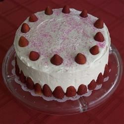 Strawberry Cake with Whipped Cream Frosting
