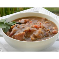 Ten Bean Soup II Recipe - This hearty soup recipe using a slow cooker combines mixed dried beans with tomato sauce, chopped carrots, celery and low fat smoked sausage seasoned with onion powder and minced garlic.